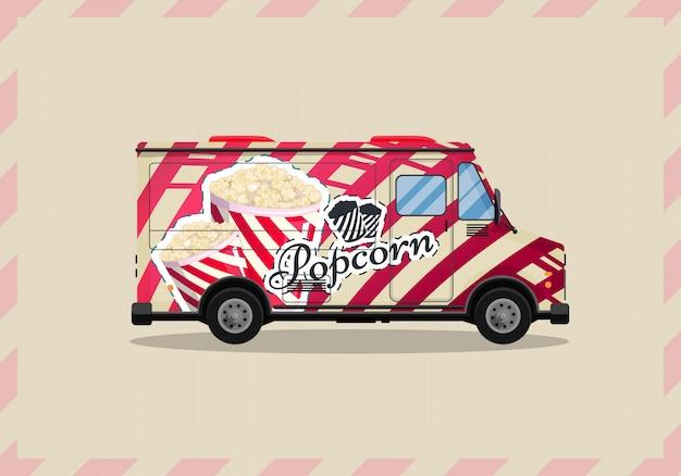 Popcorn fura, kiosk na kółkach, detaliści, słodycze i wyroby cukiernicze produkty płaski styl na białym tle ilustracja. przekąski do twoich projektów.