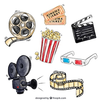 Popcorn i inne elementy filmowe akwarela