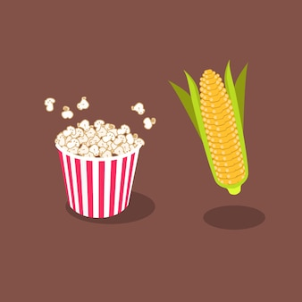 Popcorn i zboża wektor