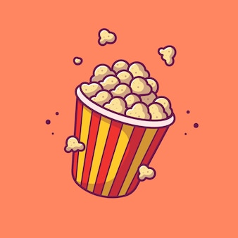 Popcorn ikona ilustracja. kino ikona koncepcja na białym tle. płaski styl kreskówek