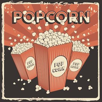Popcorn signage poster retro rustic