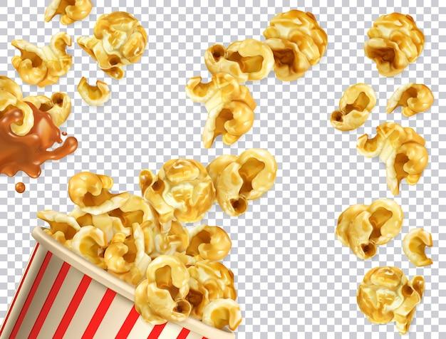 Popcorn z karmelem. 3d realistyczne