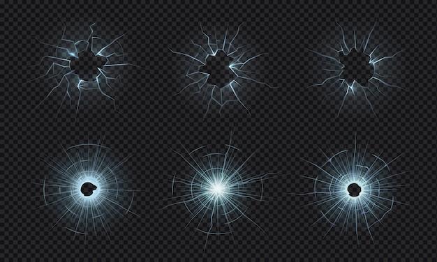 Popękane szkło. tekstura zbitej szyby, efekt rozbitego ekranu, dziury po kulach w kruszonym przezroczystym szkle. pęknięty ekran, rozbite lustro, zniszczona przednia szyba