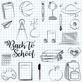 Popiera szkoła z szkolnymi elementami ilustracyjnymi