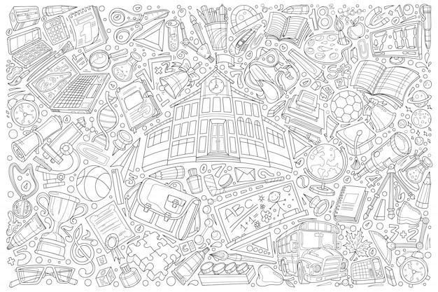 Popiera szkoły doodle ustalony ilustracyjny tło