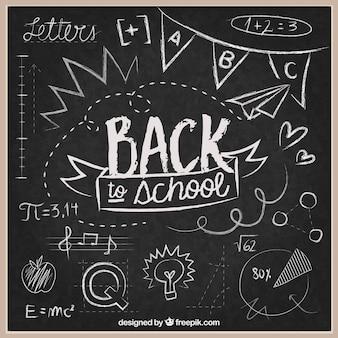 Popiera szkoły tło na blackboard