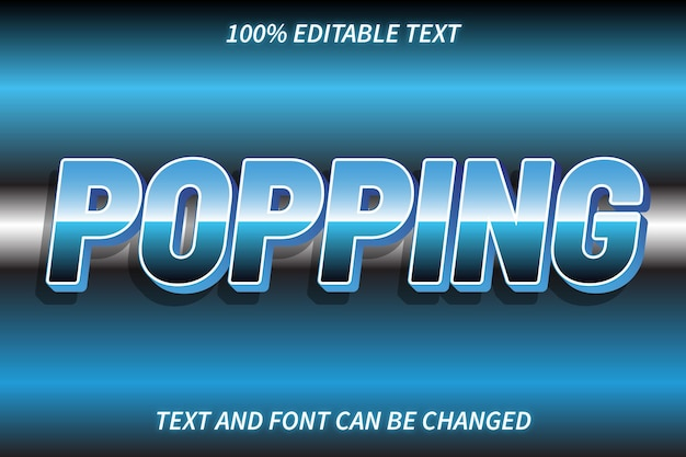 Popping edytowalny efekt tekstowy w stylu retro