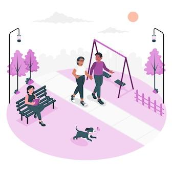 Poprzez ilustrację koncepcji parku
