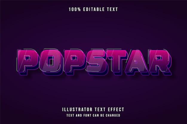 Popstar, efekt edytowalnego tekstu 3d różowy gradacja fioletowy ładny efekt stylu cienia