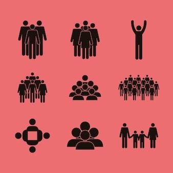 Populacja dziewięć ikon sylwetek