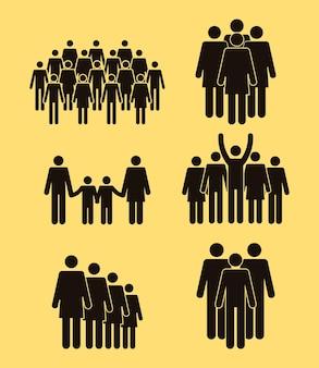 Populacja sześć ikon sylwetek