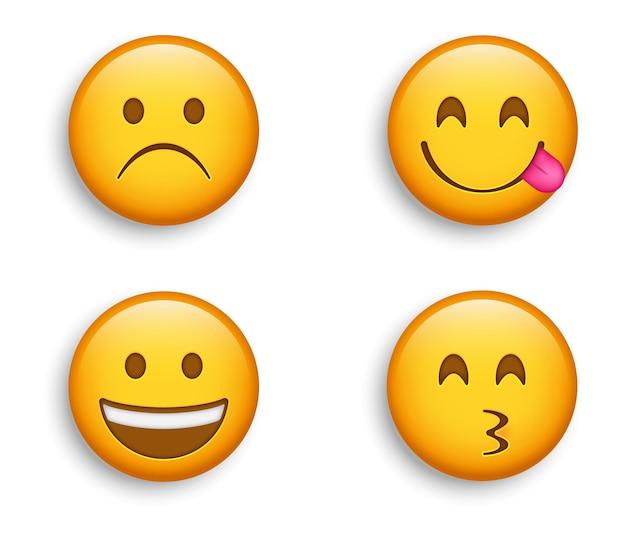 Popularne emotikony - marszcząca brwi i smutna twarz ze szczęśliwym, szeroko uśmiechniętym emotikonem i emotikonem kissy, postać licking lips