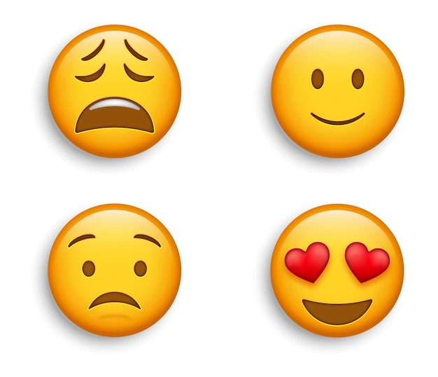 Popularne emotikony - uśmiechnięte emotikony z oczami w kształcie serca z lekko radosną twarzą i zrozpaczonymi, znużonymi, zmartwionymi emotikonami