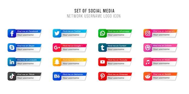 Popularne ikony serwisów społecznościowych z banerami ustawiają darmowe ikony