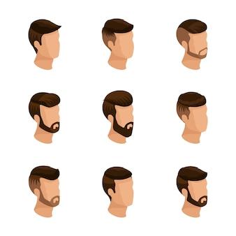 Popularne izometria, męskie fryzury, styl hipster. układanie, broda, wąsy. nowoczesna, stylowa fryzura, młodzi ludzie, biznes mody, na białym tle
