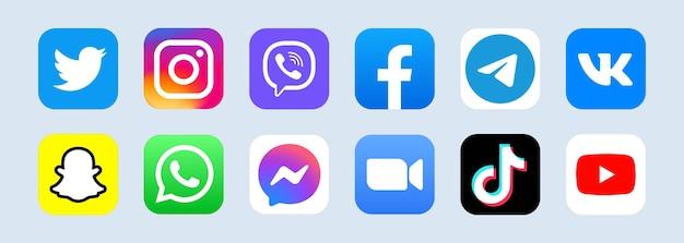 Popularne logo sieci społecznościowej. znak sieci społecznej. płaskie ikony mediów społecznościowych. realistyczny zestaw. biały interfejs użytkownika ui ux. logo
