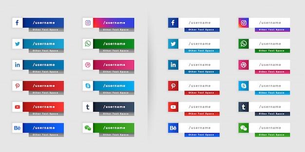 Popularne media społecznościowe niższe trzecie projektowanie banerów internetowych