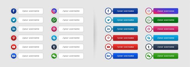 Popularne media społecznościowe niższy trzeci szablon banera