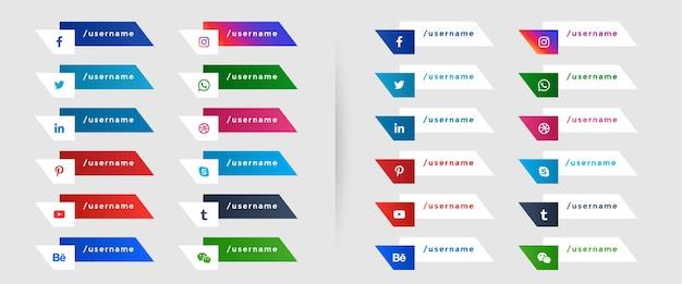 Popularne media społecznościowe niższy trzeci szablon banerów