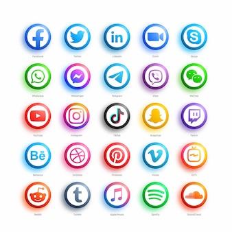 Popularne social media network round web ikony ustaw w nowoczesnym stylu 3d