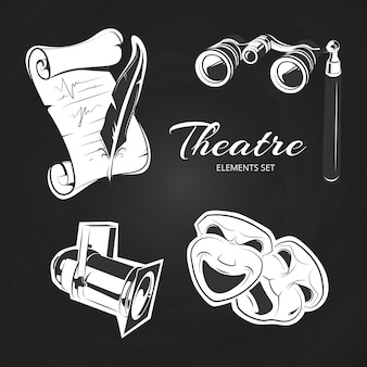 Popularne symbole teatralne ustawione na tablicy