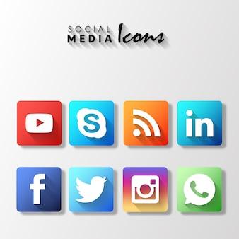 Popularne zaokrąglone zestaw ikon mediów społecznościowych