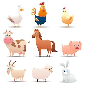 Popularne zwierzęta gospodarskie ustawione na białym tle