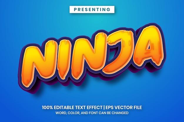 Popularny efekt tekstowy tytułu kreskówki ninja