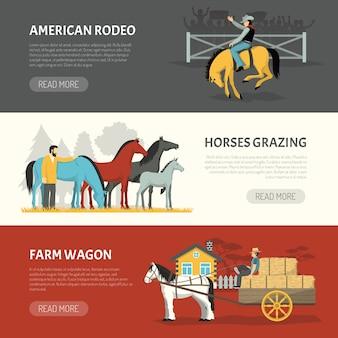 Popularny konie rasy zestaw poziome banery