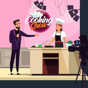 Popularny proces nagrywania programu telewizyjnego o gotowaniu. gospodarz z mikrofonem wywiad kobieta kucharz kucharz przygotowuje zdrową żywność. kamerzysta nagrywa wideo. mistrzowska klasa kulinarna i kulinarna w telewizji
