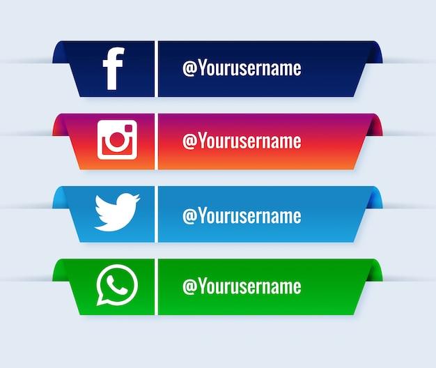 Popularny zestaw kolekcjonerski mediów społecznościowych o niższych trzecich