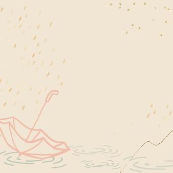 Pora deszczowa tło w pastelowym kolorze żółtym z uroczą ilustracją parasolową