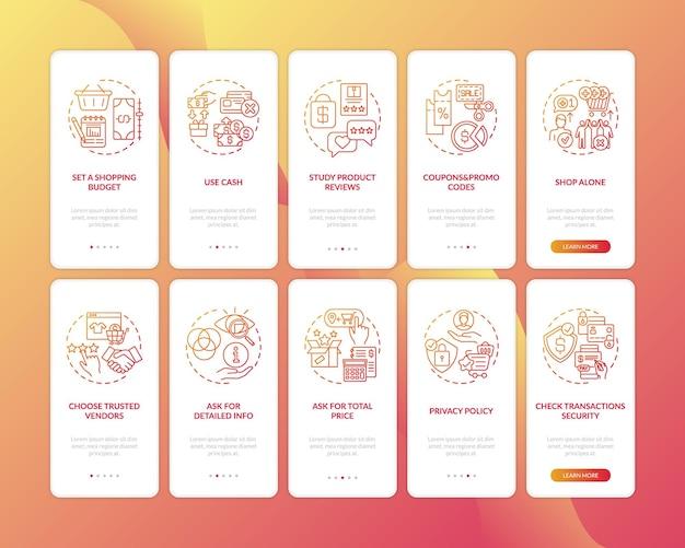 Porady dotyczące inteligentnych zakupów, wprowadzające ekran strony aplikacji mobilnej z ilustracjami