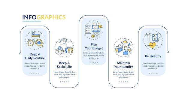 Porady dotyczące przejścia pracy wektor infografikę szablon. sposób na sukces elementów projektu prezentacji. wizualizacja danych w 5 krokach. wykres osi czasu procesu. układ przepływu pracy z ikonami liniowymi