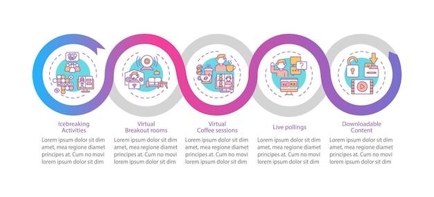Porady dotyczące sukcesu ve wektor infografika szablon. breakout roomy, elementy projektu prezentacji sesji kawowych. wizualizacja danych w 5 krokach. wykres osi czasu procesu. układ przepływu pracy z ikonami liniowymi
