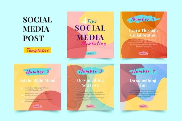 Porady marketingowe w mediach społecznościowych kolekcja postów na instagramie