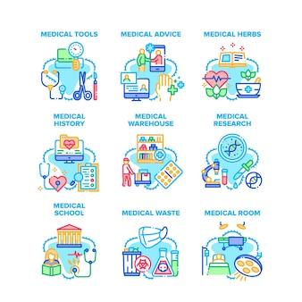 Porady medyczne zestaw ikon