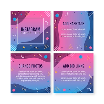 Porady szablon kolekcji post instagram