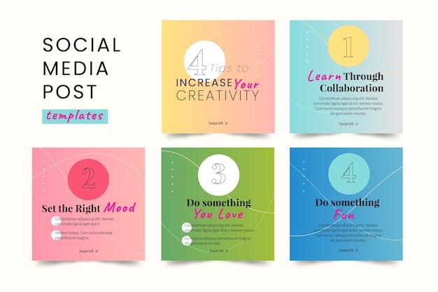 Porady w mediach społecznościowych kolekcja postów na instagramie