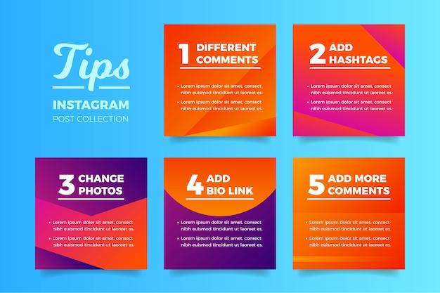 Porady zbiór postów na instagramie