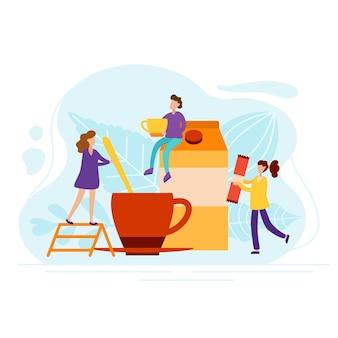 Poranna kawa z malutkimi ludźmi w stylu mieszkania. postacie robią herbatę z mlekiem dla wesołego nastroju. obudź się koncepcja ilustracji wektorowych.