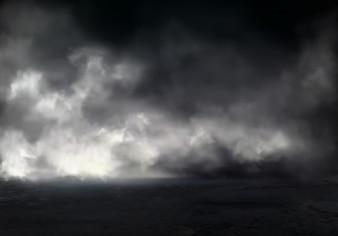 Poranna mgła lub mgła na rzece, dymie lub smogu rozprzestrzenia się w ciemnej wodzie lub powierzchni ziemi