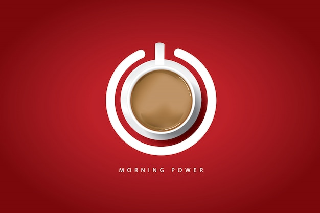 Poranna moc. plakat z filiżanką kawy i przyciskiem zasilania