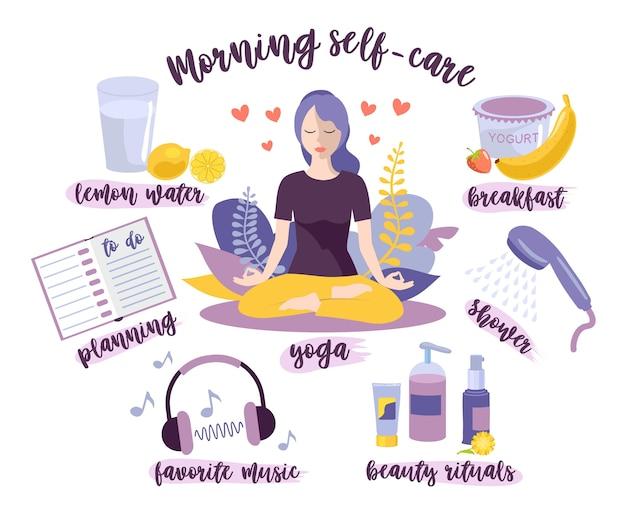 Poranna samoopieka. koncepcja samoopieki kobiety.