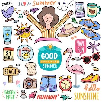 Poranne lato kolorowe elementy grafiki wektorowej i ilustracje doodle