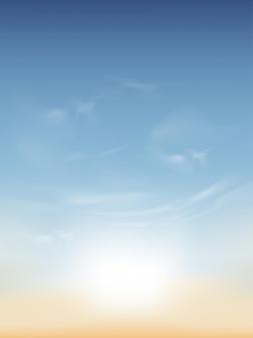 Poranne niebo z białymi chmurami, pionowe wiosenne niebo w kolorze niebieskim i żółtym