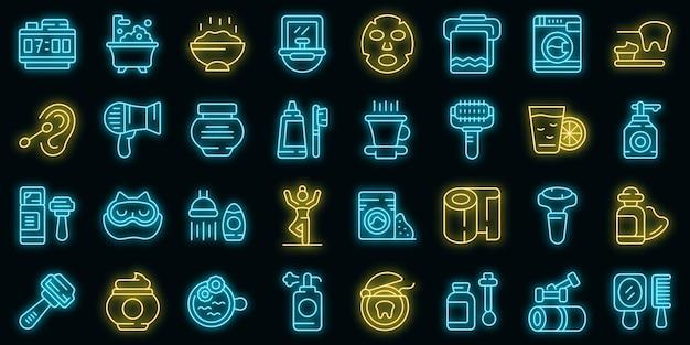 Poranne zabiegi ikony wektor zestaw neon