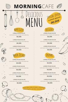 Poranny szablon menu kawiarni