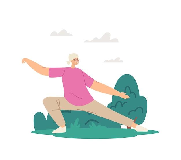 Poranny trening emeryta w parku miejskim. starsza kobieta ćwiczenia tai chi, zajęcia dla ludzi. senior kobiecej postaci ćwiczenia na świeżym powietrzu, zdrowy styl życia, trening ciała. ilustracja kreskówka wektor