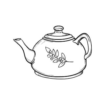 Porcelanowy dzbanek do kawy czajniczek na białym tle ręcznie rysowane ilustracji wektorowych